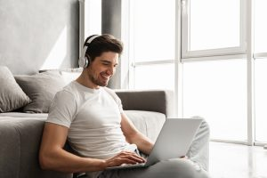 Man learning at home